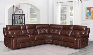 TOP GRAIN Leather Chelsea POWER Sectional