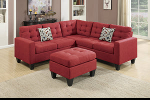 Alison Carmine Sectional & Ottoman Red