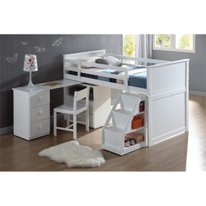 Ana Twin Loft Bed & Swivel Desk