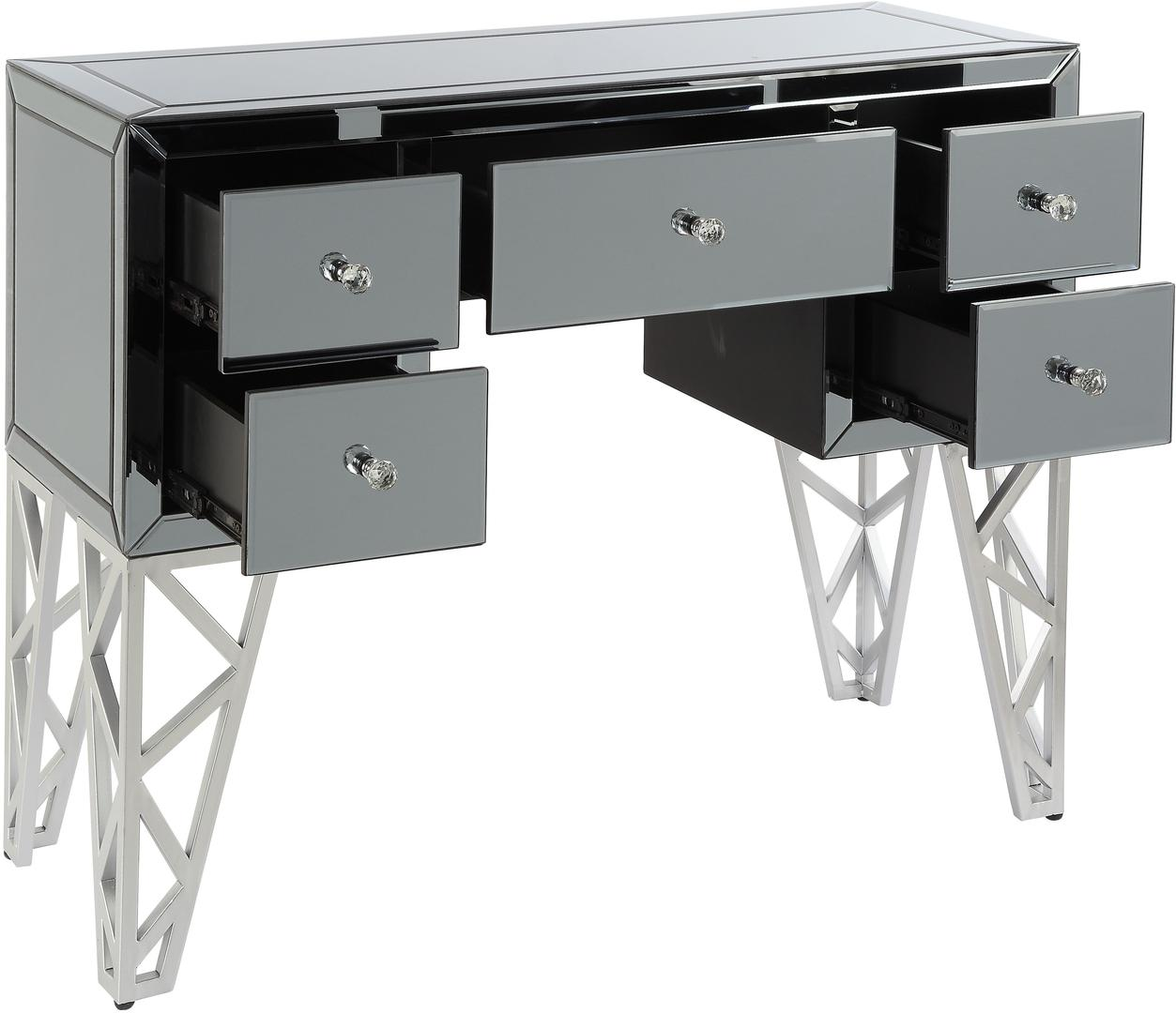 Monique Console Table with drawers open