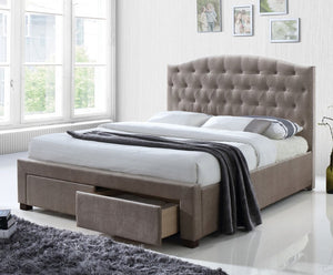 Caly Upholstered Mink Fabric Bed