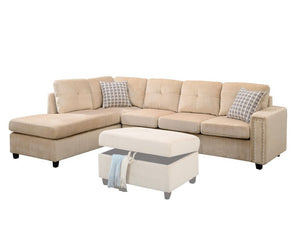 Connel Beige Velvet Sectional