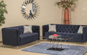 Laval Blue Sofa and Loveseat Set