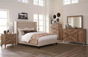 Anie Beige Upholstered Bed