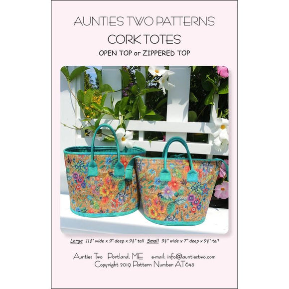 Aunties Two Patterns Cork Tokes | Open Top or Zippered Top