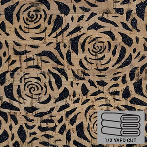 Pro Lite Cork - Half Yard, Black Glitter Backed Roses, Die-Cut