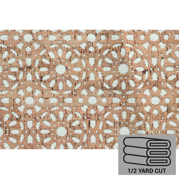 Pro Lite Cork - Half Yard, Cream Canvas Backed Mandala, Die-Cut