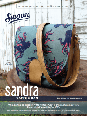 Swoon Sewing Patterns | Sandra Saddle Bag