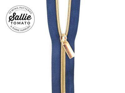 Zippers by the Yard Navy Tape Gold Teeth