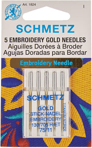 Schmetz Gold Titanium Embroidery Needle 75/11