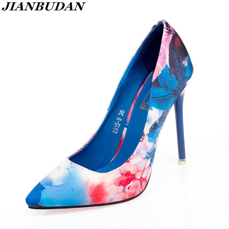 Floral Printed High Heeled Shoes