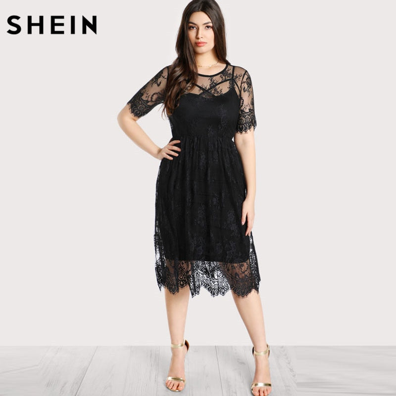 SHEIN Black Plus Size Lace Dress Women High Waist Floral Lace Dress Scoop Neck Buttoned Large Size Summer Dress