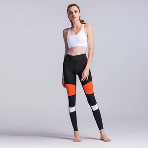 Women Fitness Yoga Pants Sports Leggings Color Block Tights Workout Running Skinny Casual Trousers Black