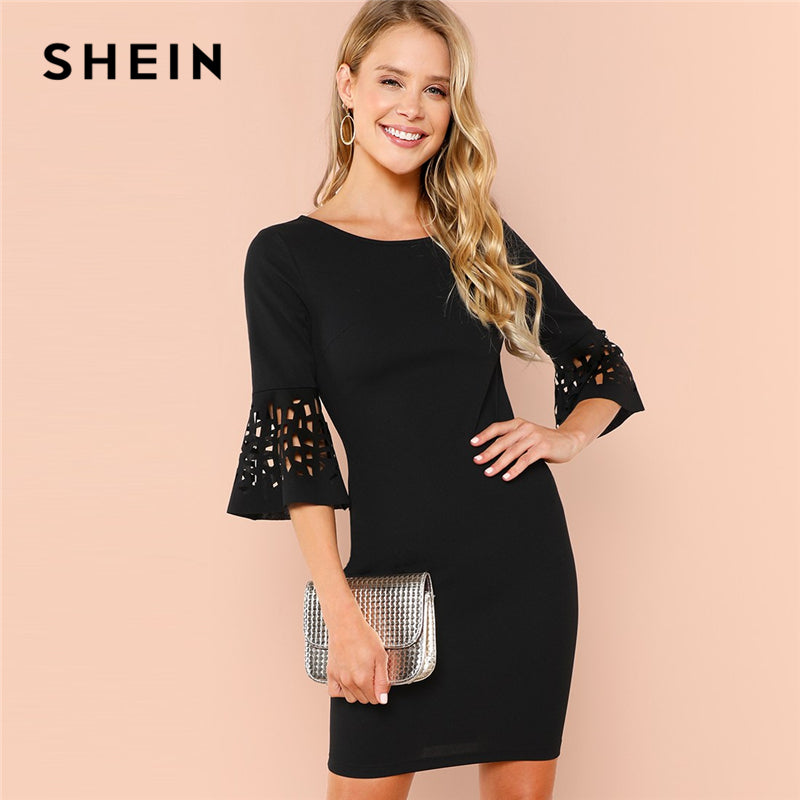 SHEIN Black Party Elegant Cut Out Detail Ruffle Trim Flounce Sleeve Natural Waist Solid Dress 2018 Summer Minimalist Dresses