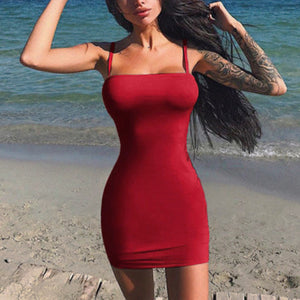 Womens Sleeveless Casual Solid Mini Dress
