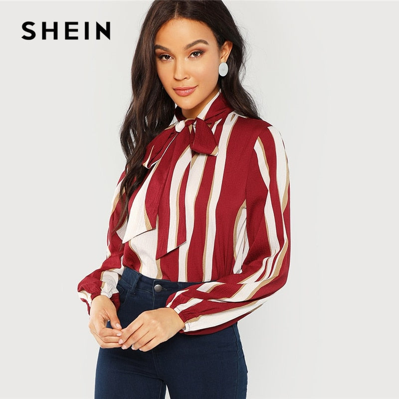 SHEIN Multicolor Tie Neck Striped Blouse Workwear V Neck Long Sleeve Blouses Women Autumn Office Ladies Elegant Tops Clothing