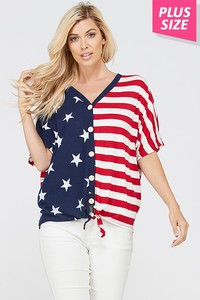 CURVY 4TH OF JULY AMERICAN FLAG TOP