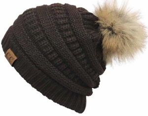CC Brown Hat with Pom