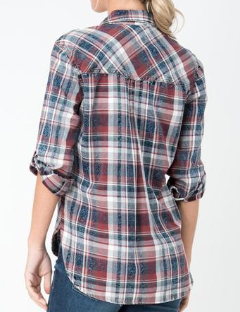 Navy/Burgundy Plaid Flannel