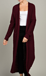 Burgundy Long Cardigan
