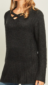 Black Fringe Back Sweater