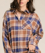 Blue/Taupe Flannel Button Down