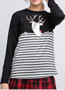 Black Striped Sweater with Reindeer