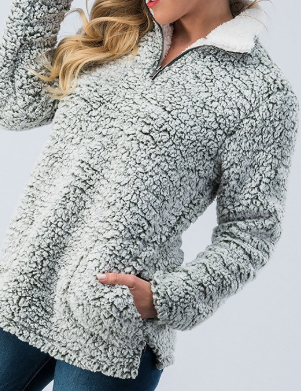Grey Fleece Front Zip