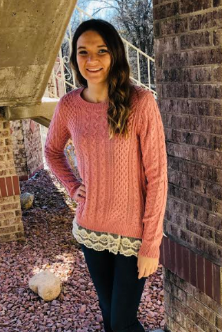 Pink Knit Sweater Top