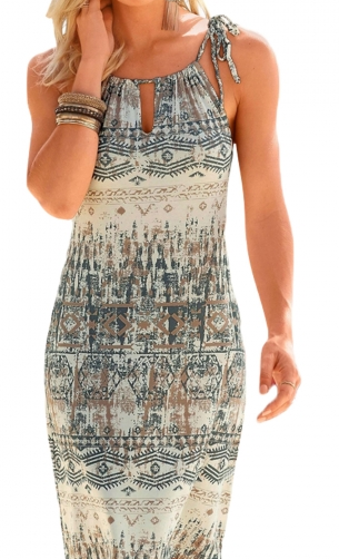 Stylish Bohemian All Over Print Keyhole Front Dress