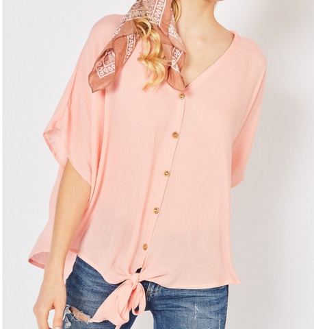 Peach V-Neck Button Up Tie Top