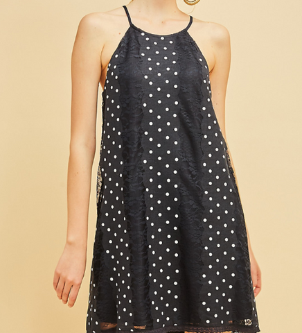 Blue Polka Dot Lace Dress