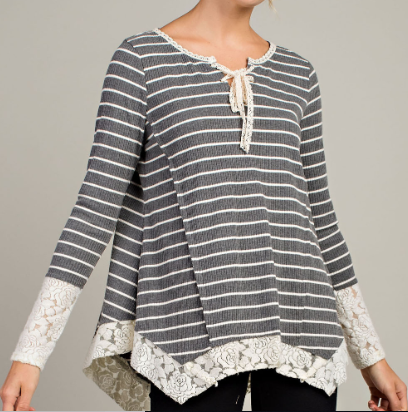 Grey Lace Detail Stripe Knit Top