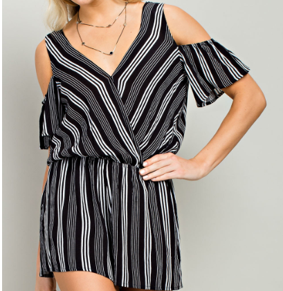 Black Cold Shoulder Stripe Romper