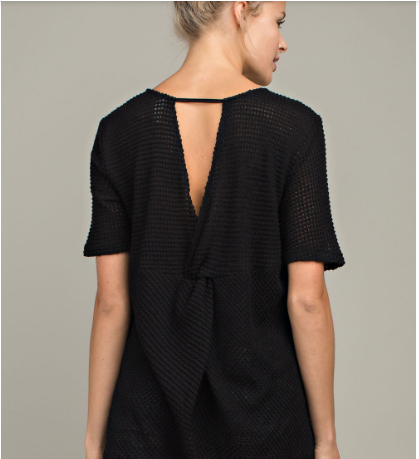 Black Knotted Back Short Sleeve Top