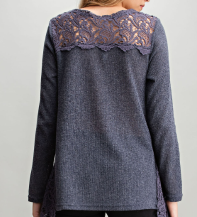 Navy Crochet Inserted Top