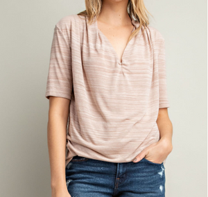 Taupe Draped V-Neck Top