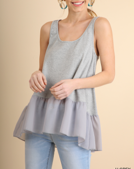 H Grey Ruffled Up Tank Top