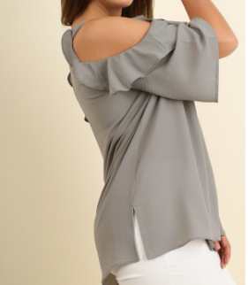 Grey Cold Shoulder Blouse with Ruffle Details