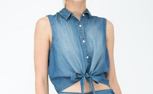 Denim Front Tie Sleeveless Shirts
