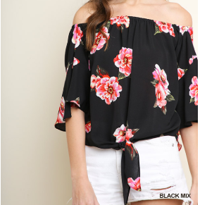 Black Floral Print Ruffled Bell Sleeve