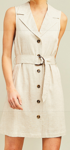 Oatmeal Button Up V-Neck Dress