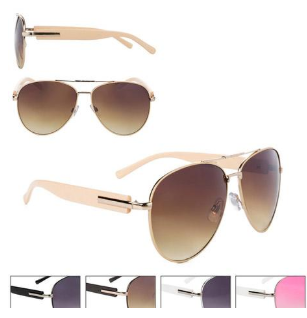 Pink/White Sunglasses Gradiant Lens Aviator