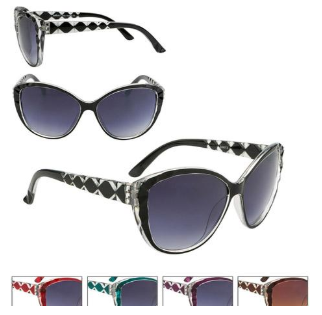 Brown Sunglasses Diamond Patterned Arms