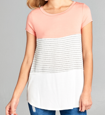 RIB STRIPE/SOLID COLOR BLOCK TOP