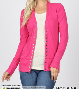 Hot Pink SNAP BUTTON CARDIGAN