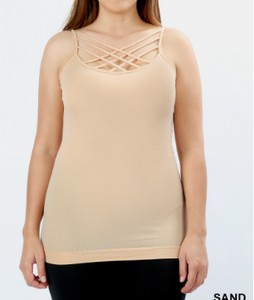 Sand PLUS SEAMLESS TRIPLE CRISS-CROSS FRONT CAMI