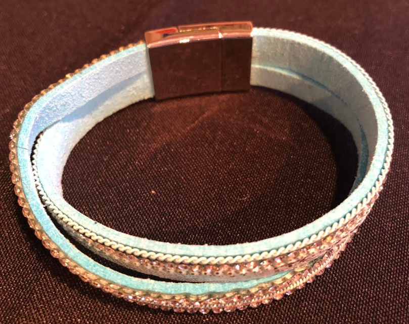 Light Blue & Rhinestone Magnetic Bracelet