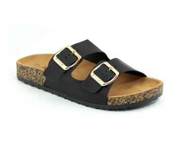 Black flat gold buckle sandals