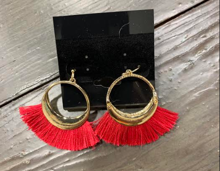 Hot Pink/Gold Fringe Earring
